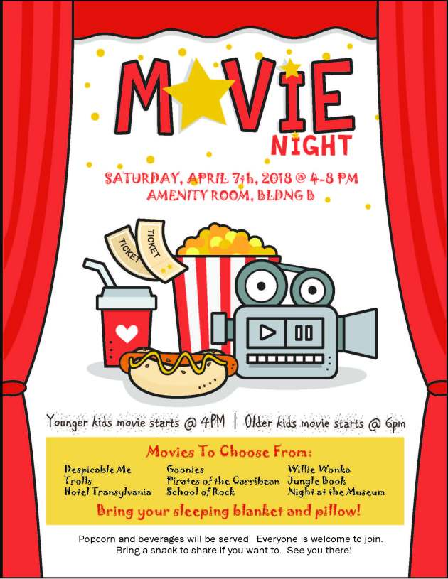 Movie Night Poster Red March17
